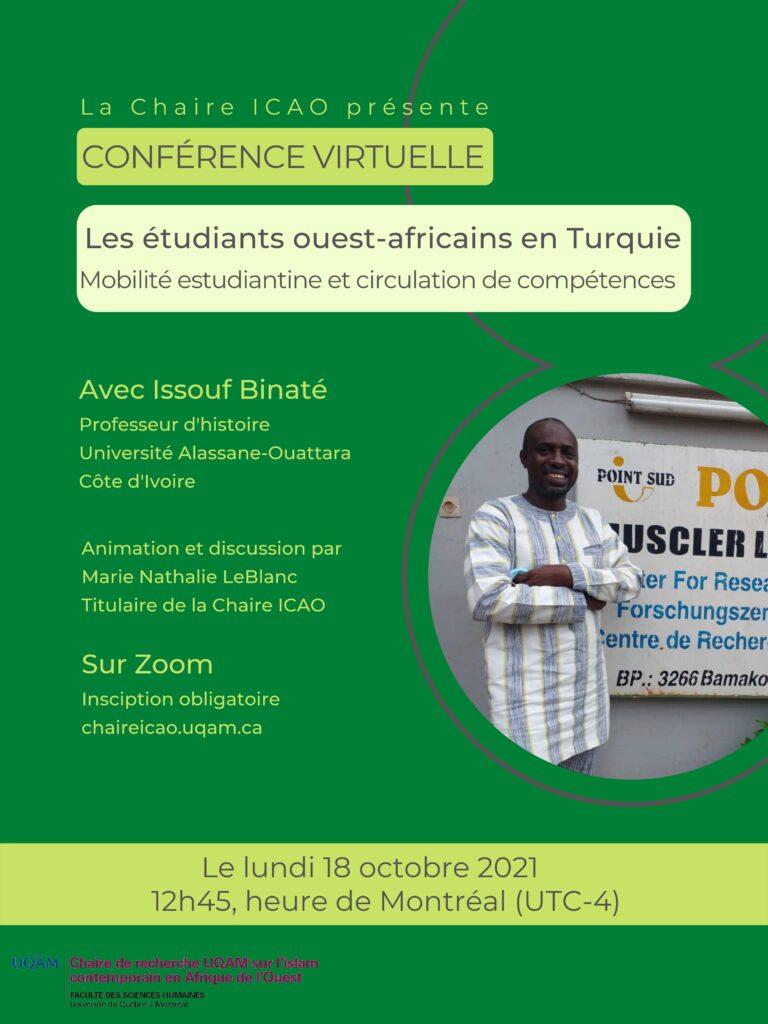 Affiche de la conférence du 18 octobre 2021 avec Issouf Binaté